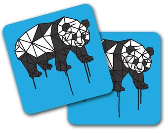 Set of 4 Geometric Panda Design Coasters (CO740)