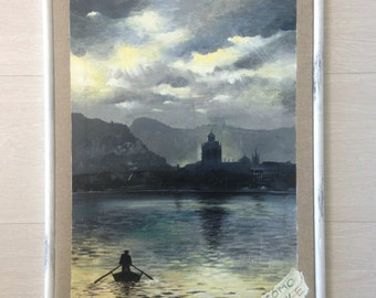 Lake Como painting and acrilic wallart painting/ Landscape and lakescape picture/ Original artwork/ Lake Como painting/ Painting handmade
