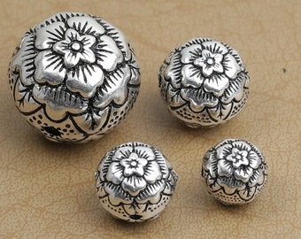Round flower 925 silver flower beads thai sterling silver spacer ball beads 10mm 12mm 14mm 20mm silver beads supply wholesale Y134