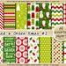 SALE christmas digital paper red and green christmas digital paper holiday digital paper pattern snowflake snowman stocking mitten star