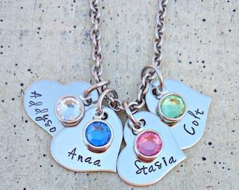 Hand stamped heart name Necklace /  Name necklace with birthstones / Children's birthstone necklace  / Child's name Personalized necklace