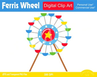 Ferris Wheel, Ferris Wheels, Ferris Wheel Clipart, Commercial Personal Use Instant Download