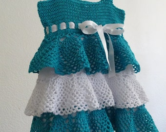 knit baby dress, crochet baby dress, lace dress, ruffle dress, blue dress, cotton dress, knit girls dress, crochet dress, ready to ship