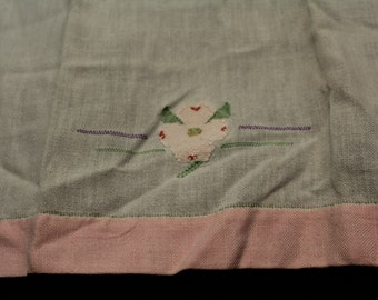 Set of Two Linen and Embroidered Table Runners