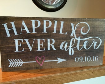 Happily Ever After *with wedding date* wood sign
