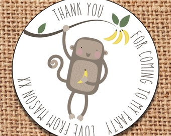 24 party bag thank you for coming personalised stickers monkey 1st birthday sweet cone