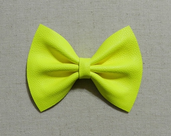 Neon Yellow Faux Leather Bow Tie and Hair Bow, Neon Yellow Faux Leather Bow Tie and Hair Bow, Neon Yellow Bow Tie and Hair Bow