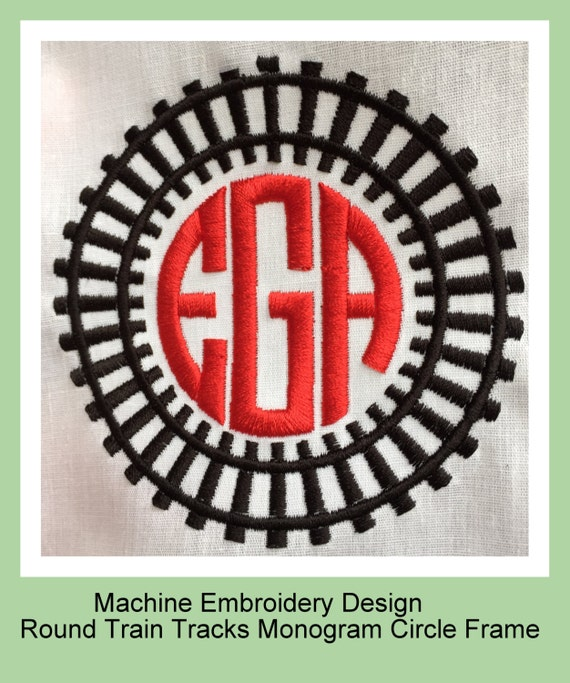 Train Track Monogram Frame Machine Embroidery By