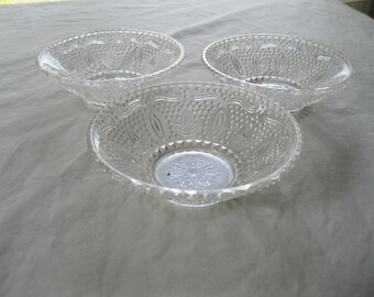Pressed glass bowls, Set of 3.  Hobnail and daisy