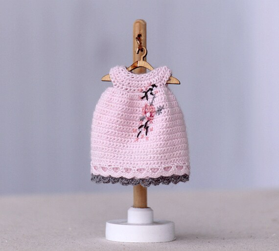 Crochet Mini Doll Clothes : 4 inches doll Miniature crocheted dress with embroidery for