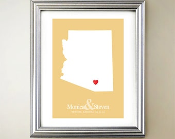 Arizona Custom Vertical Heart Map Art - Personalized names, wedding gift, engagement, anniversary date