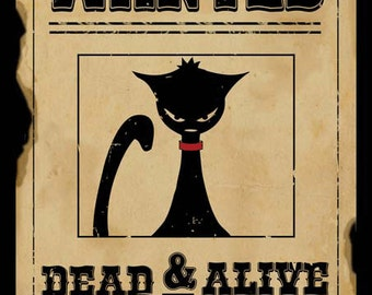 Quantum Cat Wanted Metal Sign, Schrödinger's Cat, Physics, Paradox  HB7181