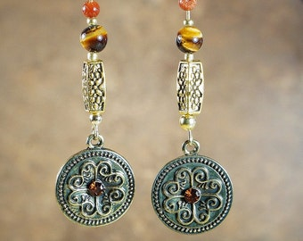 Earrings Natural Stone and Metal Beaded Earrings with Gold Tone Fashion Dangle and Gold Tone Nickel Free Studs