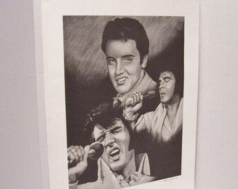 19 x 24 Elvis Limited Edition -  Signed 87/2000 Elvis Litho - 1970's Elvis Presley Print - Vintage Black and White Elvis - Elvis Presley