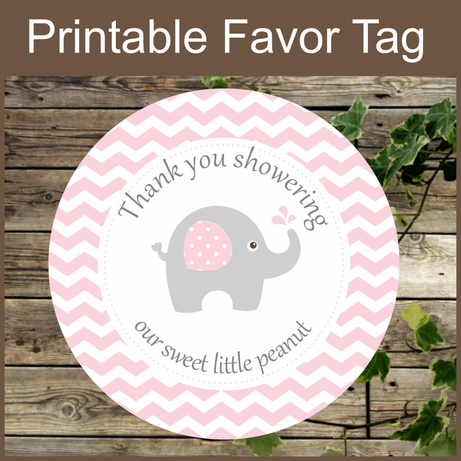 printable favor tags pink elephant baby shower favor by isidesigns