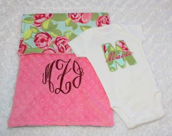 """Personalized Coming Home Outfit girl, Baby Girl Coming Home Outfit, Girl Coming Home Bodysuit, Amy Butler """"Tumble Roses"""" fabric."""