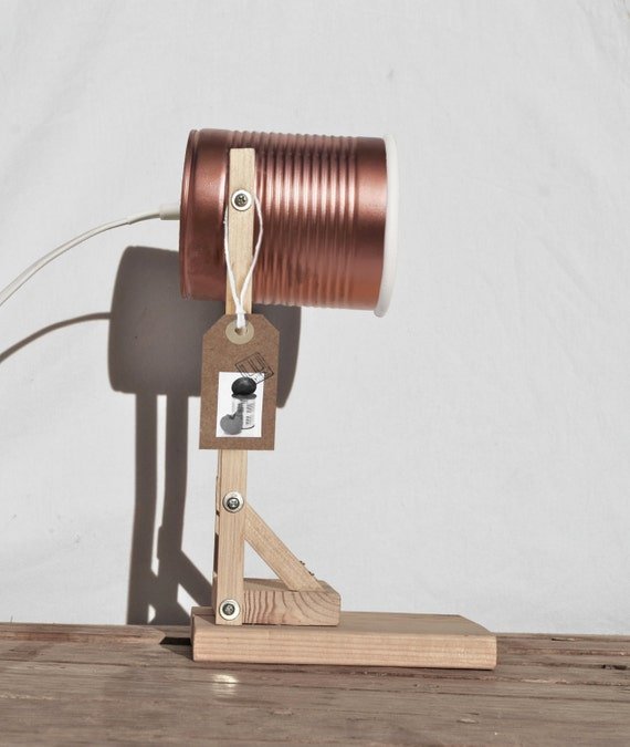 Copper painted  table lamp , handmade / homemade / Eco-friendly: recycled from tomato can! US or UK or Australian or  Euro plug