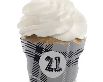 Finally 21 - 21st Birthday Cupcake Wrappers - Birthday Party Cupcake Decorations - Set of 12 - Adult Milestone Birthday - Cupcake Liners