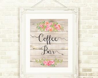 Coffe Bar, INSTANT download, Printable chalkboard art, Home decor, Bridal Shower, Baby Shower, Floral watercolor print