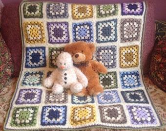 Traditional Crochet BabyBlanket Large,Colourful Cot Blanket.
