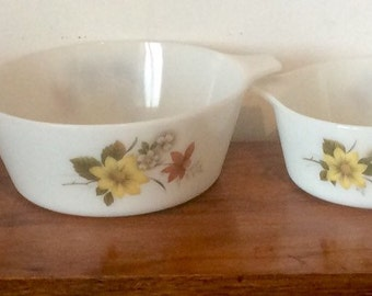 Vintage Pyrex Dishes, Set of 4 'Autumn Glory'/'Dahlia' 1960s Casserole Dishes