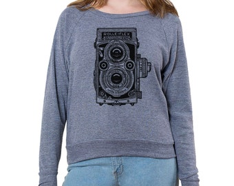 "Camera Series ""Rolleiflex"" Graphic printed on Women's American Apparel long sleeve pullover"