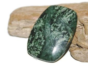 Russian Serpentine Pendant Bead, New Jade Pendant, Forest Green Serpentine Focal, Dark Green Gemstone Pendant, Green Natural Stone