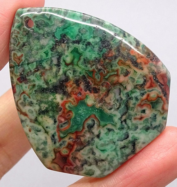 Green Crazy Lace Agate Pendant Bead 46mm x 38mm Green