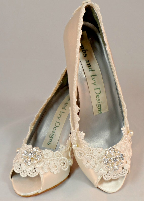 Ivory Wedding WedgeLace Wedding Wedges Bridal Heels By AJuneBride