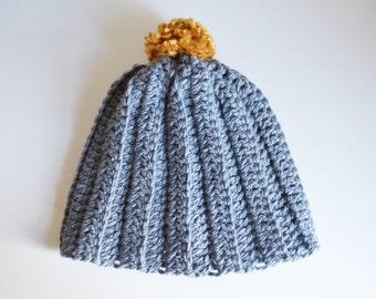 Crochet Bobble Hat, Ribbed Crochet Hat, Child Crochet Hat, Adult Crochet Hat, Grey Hat, Handmade Hat, Wool Hat, Winter Hat, Warm Hat,Crochet