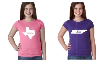 PREORDER - Custom Youth Girls State Tshirt