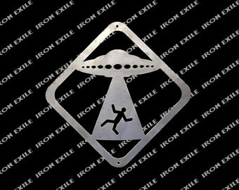 UFO Abduction Crossing Metal Wall Art Sign Sci-Fi Martian Area 51 Plasma Cut