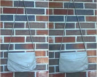 Adorable Light Grey Crossbody Bag with Button Detail