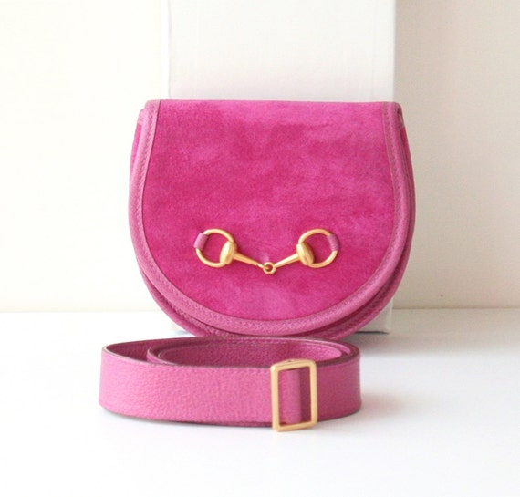 Gucci Suede Waist Belt Bag Pink Horsebit vintage authentic