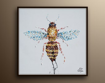 "Bee painting 40"" , Animal painting, original oil painting on canvas, by Koby Feldmos"