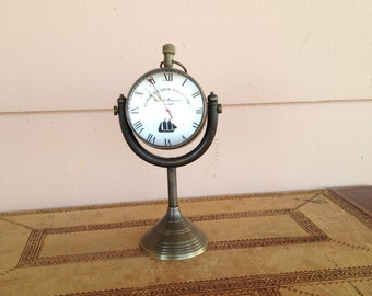 Ship's Clock on Stand - Desk Top - Wind Up Clock - Vintage Brass and Glass Table Clock