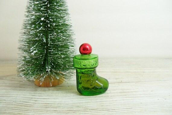 Avon Perfume Bottle Christmas Stocking Vintage Avon Green Glass Boot Christmas Surprise Sweet Honesty 1970s