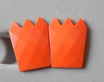 Vintage West Germany Earrings Orange Plastic Clip On Earrings Very Unique!