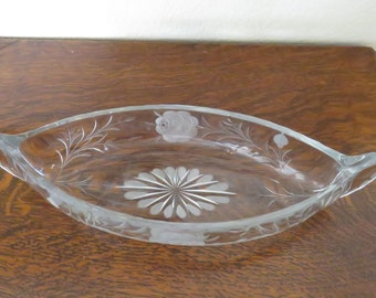 Antique Cut Glass Celery/Condiment/Relish dish - free shipping USA