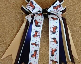 Horse Show Bows/equestrian hair accessory/bay pony/Shades of Bay