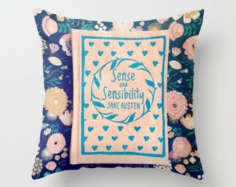 Sense and Sensibility Pink Book Pillow Cover: Jane Austen, home decor, bedding, black, pink, floral, flowers