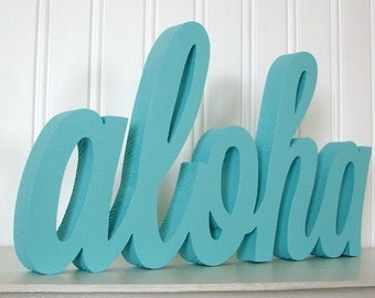 aloha Wood Sign, aloha Word Sign. painted aloha Letter Sign