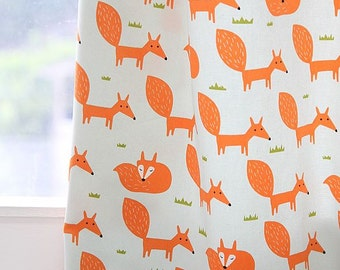 Scandinavian Style Cute Fox Pattern 20s Cotton Oxford Fabric (Light Mint)