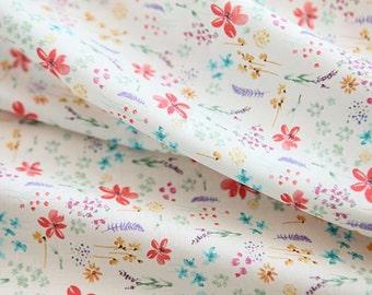 "Lawn Fabric - Floral Pattern Lawn Fabric ""Garden of Scarlet"" by Half Yard - 55"" Width"