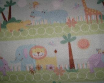 Fabric by the 1/2 Yard - Jungle Animals Fleece Fabric