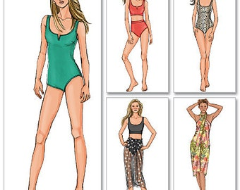 Misses' Swimsuit and Wrap Butterick Pattern B4526