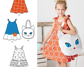 Simplicity Sewing Pattern 8102 Child's Easy-to-Sew Sundress and Kitty Tote