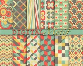 Retro Digital Paper Pack, Instant Download, Printable Paper, Digital Download Decoupage paper, Scrapbooking Paper - DM202