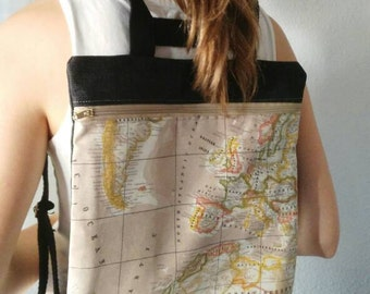 World map backpack, world map bag, the world is your, fabric bag, travellers handmade, made in spain