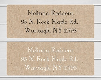 Wedding Invitation Return Address Kraft Labels, Wedding Invitation Return Address Kraft Stickers (#336-KR)